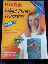Kodak Inkjet photo transfers 6 sheets new sealed pack t shirt printing