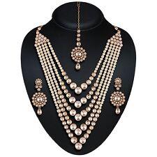 Indian Bollywood Gold Polki, pearl Jewellery set Haar Necklace, Earring, Tikka