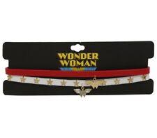DC Comics Wonder Woman Logo Choker Charm Pendant Necklace 2 Pack NWT!