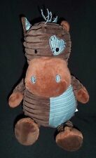 DAN DEE Brown Blue Striped Horse Pony Patch Plush Stuffed Animal Lovey Toy 13""