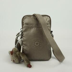 KIPLING TALLY Phone Travel Mini Crossbody Bag Metallic Pewter Croc