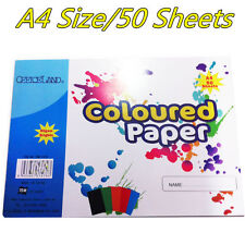 A4 Art/Artist Kids Craft Coloured Paper For Party 80gsm Brights 50 Sheet