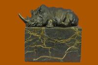 Stunning and Lifelike Bronze Rhino Sculpture Art Deco Figurine Marble Base Decor