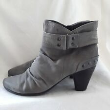 Ladies leather upper grey suede ankle boots size 40 by Marco Tozzi