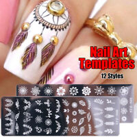 Stainless Steel Image Stencil Nail Art Template Stamping Plates Flower Pattern