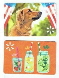Walmart Gift Card LOT of 2 -4th of July Dog Flag & Summer Fruit Drinks -No Value