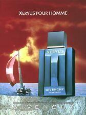 Publicité ancienne parfum eau de toilette Xeryus Givenchy non parfumé