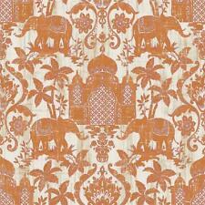 Indo Chic Non-Woven Wallpaper Elephant Oriental Taj Mahal Asia Rust Orange Cream