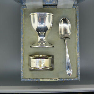 3 pc. English Sterling Breakfast Set has Egg Cup, Napkin Ring & Spoon