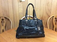 Coach Madison Black Exotic Croc Embossed Carryall Shoulder Bag/Tote D1082-14601