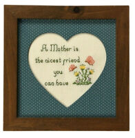 Completed cross stitch embroidery mother friend floral love home decor art 7x7