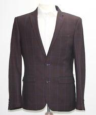 Men's 'Easy' Burgundy check tailored fit blazer (M)... sample 1470