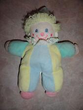 Vintage Eden Clown Pastel Colors Green Blue Yellow Baby Plush Stuffed Toy Rattle