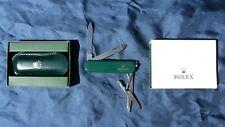 ROLEX KNIFE WENGER SWISS BRIT RACING / JADE GREEN SCISSORS LEATHER CASE BOX MINT