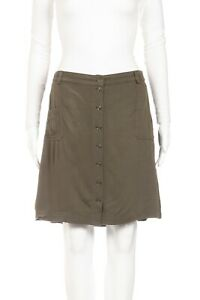 LIFE STYLE Button Skirt Large Petite Green Elastic Waist Band Straight PL Casual