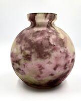 Beau vase boule ART-DECO Verre marmoréen Ets ANDRE DELATTE Vers 1925