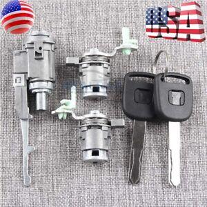 Ignition Switch Cylinder + Door Lock Cylinder + Key For Honda Civic CR-V Element