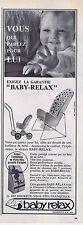 PUBLICITE ADVERTISING 1965 035 BABY RELAX siège pour bébé 1