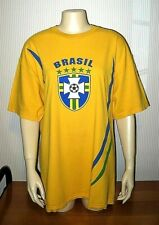 Brasil Soccer Shield Adult L 100% Cotton Graphic T-Shirt - New!