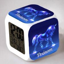 Reveil cube led lumière nuit clock licorne unicorn personnalisé prénom réf 42