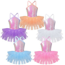 Girl Ballerina Ballet Dance Leotard Dress Shiny Skirt Costume Gymnastics Clothes