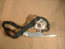Vintage Sterling Silver Bosun'S Whistle With Black Knotted Neck Piece