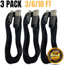 3Pack 3/6/10Ft Lightning Cable For iPhone X 8 7 Heavy Duty Charger Charging Cord