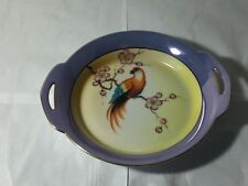 VINTAGE NORITAKE BIRD OF PARADISE PARROT MADE JAPAN ROUND DISH LUSTERWARE BLUE Y