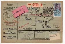 FRANCE colis postaux alsace Lorraine bulletin d'expédition mulhouse gare fiscal