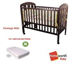 Classic COT &Airflow Mattress Baby CRIB Junior BED Dropside Wheels Walnut Brown