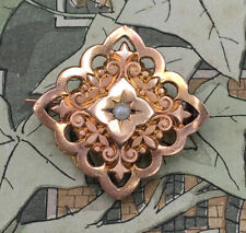 Broche Ancienne FIX 1920 Plaqué Or Rose et Perle Fine - Antique French Brooch