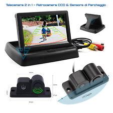 """Kit Retromarcia Monitor 4.3"""" Richiudibile Telecamera 2in1 Sensore di Parcheggio"""