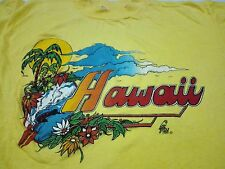 RARE VINTAGE 70s 80s HAWAII POLY TEES T SHIRT LARGE SCENIC SURF SUNSET PALM TREE