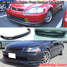 Mu-gen Style Front Bumper Lip + TR Style Grill (ABS) Fit 96-98 Honda Civic 4dr