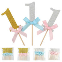 10pcs Boys Girls 1st Birthday Cake Cupcake Toppers Picks Baby Shower Party Decor