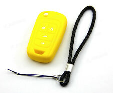 Yellow Silicone Case Cover For Chevrolet Camaro 4 Button Remote Flip Key CHEV4FY