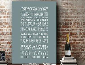 Ed Sheeran Tenerife Sea | Poster Word Wall Art Song Lyrics PRINT | CANVAS GIFT
