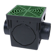 """Storm Drain FSD-090-K 9"""" Square Catch Basin Kit Drain Box with Green Grate"""