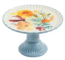 Pioneer Woman Stoneware Mini Cake Cupcake Stand Flea Market Willow Floral NEW
