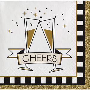16 x New Year Party Drinks Beverage Napkins Midnight Celebration Canape size