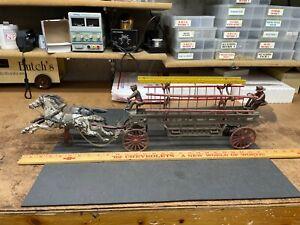 "Large 27 "" Cast Iron Horse Drawn Fire Ladder Wagon Hubley Kenton Arcade"