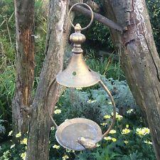 Gold Aged Metal Hanging Bird Feeder