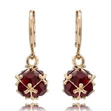 Elegant 18K Gold Plated Multi Color Crystal Rhinestone Dangle Hoop Earrings