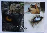 2013 St VINCENT & GRENADINES DOGS HUSKY & WOLF BEQUIA STAMP MINI SHEET