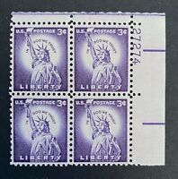 US Stamps, Scott #1035 Statue of Liberty 3c Plate Block XF M/NH. PO fresh.