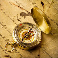 Golden Outdoor Camping Compass Pocket Watch Style Classic Brass Night Lights
