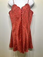 Vintage Victoria Secret Satin Chemise Gown Teddy Sexy Red Buttons Gold Tag Sz M