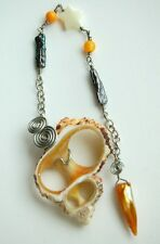 D36 Shell Slice Wire Wrapped Dowsing Pendulum & Mother of Pearl Handcrafted ONOK