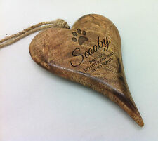 Personalised Pet Memorial Remberance Hanging Wooden Heart Plaque Keepsake