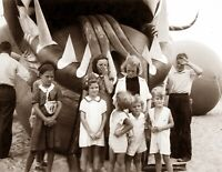"1937 Kids with Nantucket Sea Serpent, MA Vintage Photograph 8.5"" x 11"" Reprint"